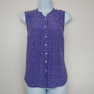 Joie 100% Silk Sleeveless Button Down Floral Top S
